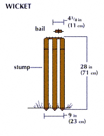 [Graphic: The wicket consists of three stumps and two bails]